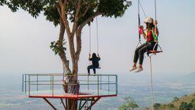 นั่งชิงช้าต้นไม้ บ้านสวนชมวิวภูรักไทย อ.เนินมะปราง จุดชมวิวที่สวยที่สุดในพิษณุโลก