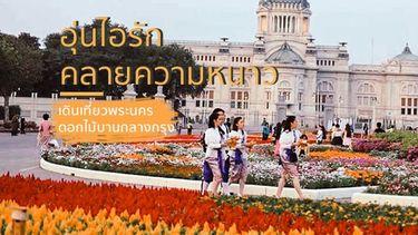 เดินเที่ยวพระนคร อุ่นไอรัก คลายความหนาว ใส่ชุดไทย ชมดอกไม้บานกลางกรุง หน้าลานพระราชวังดุสิต