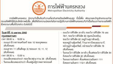 การไฟฟ้านครหลวง ประกาศดับไฟบางพื้นที่ ช่วงสงกรานต์ 13-19 เมษายน 2562