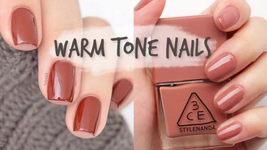 ไอเดียทาเล็บ  สี Warm Tone สีโทนน้ำตาลส้ม ชมพูส้ม ทาแล้วมือขาว สวยรับหน้าหนาว!